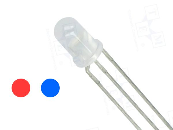 5mm LED DIFFUSED - RED / BLUE