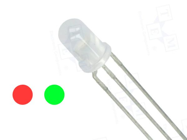 5mm LED DIFFUSED - RED / GREEN