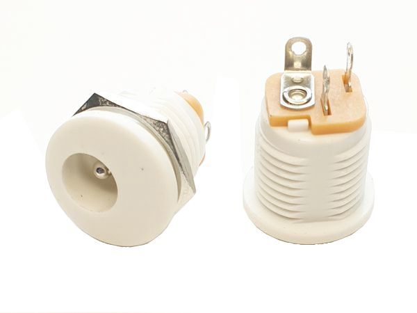 2.1mm DC PANEL MOUNT SOCKET - WHITE
