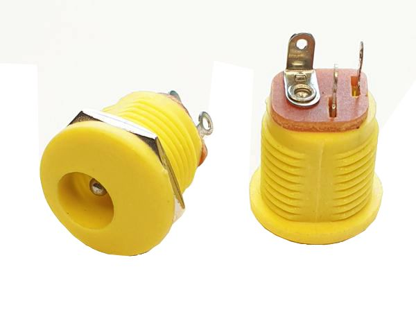 2.1mm DC PANEL MOUNT SOCKET - YELLOW