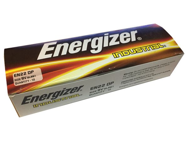 ENERGIZER 9V ALKALINE INDUSTRIAL BATTERY - 12 PACK