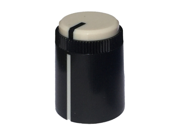 POT KNOB WHITE - ROUND SHAFT
