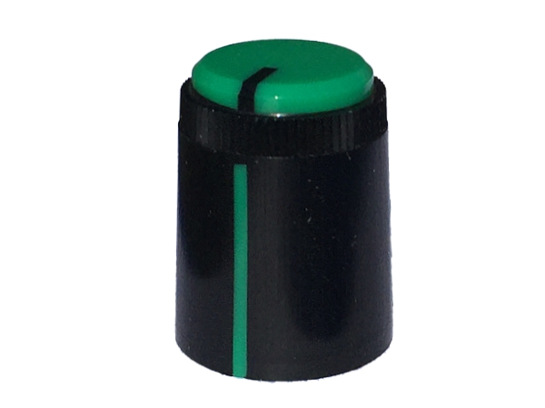 POT KNOB GREEN - ROUND SHAFT