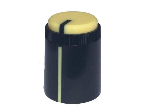 POT KNOB YELLOW - ROUND SHAFT
