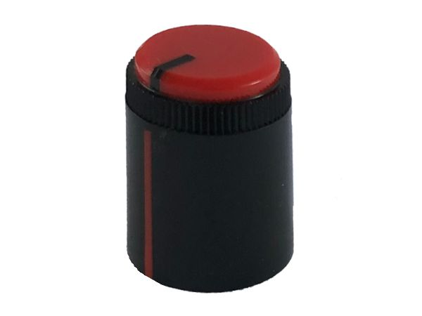 POT KNOB RED - ROUND SHAFT