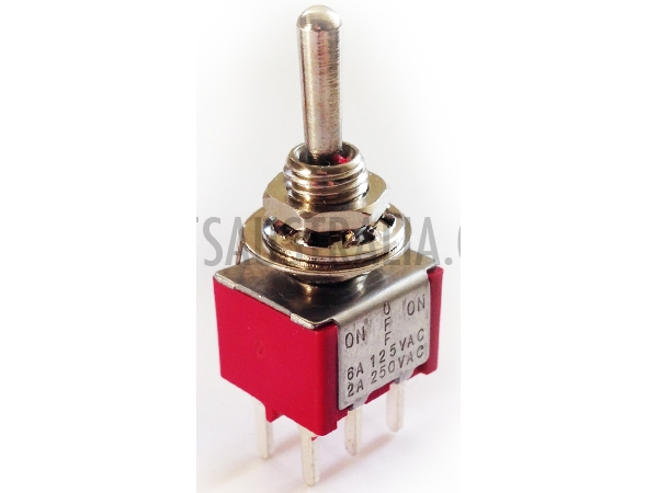 DPDT MINIATURE TOGGLE SWITCH (CENTRE OFF) - PCB